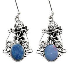 6.33cts natural blue doublet opal australian 925 silver angel earrings d40762