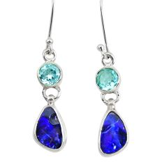 8.44cts natural blue doublet opal australian 925 silver dangle earrings d40452