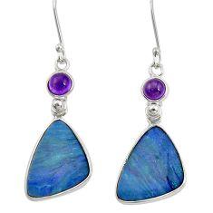 13.13cts natural blue doublet opal australian 925 silver dangle earrings d40459