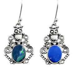 5.80cts natural blue doublet opal australian 925 silver dangle earrings d40818