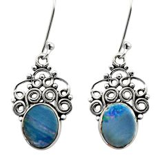 5.90cts natural blue doublet opal australian 925 silver dangle earrings d40819