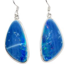22.73cts natural blue doublet opal australian 925 silver dangle earrings d45778