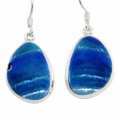 15.89cts natural blue doublet opal australian 925 silver dangle earrings d45780