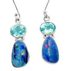9.47cts natural blue doublet opal australian 925 silver dangle earrings d47581