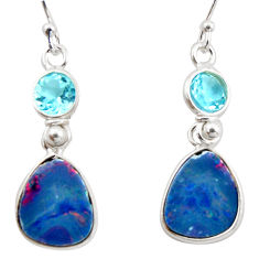 8.53cts natural blue doublet opal australian 925 silver dangle earrings d47585