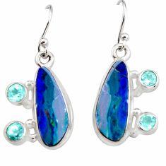 10.04cts natural blue doublet opal australian 925 silver dangle earrings r19722