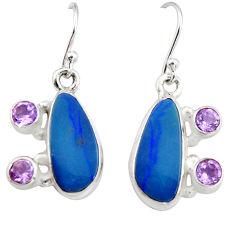 9.72cts natural blue doublet opal australian 925 silver dangle earrings r19723