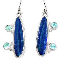 13.04cts natural blue doublet opal australian 925 silver dangle earrings r19725