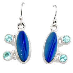 9.04cts natural blue doublet opal australian 925 silver dangle earrings r19726