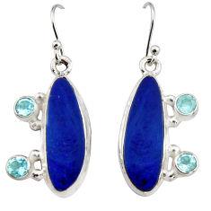 12.04cts natural blue doublet opal australian 925 silver dangle earrings r19729