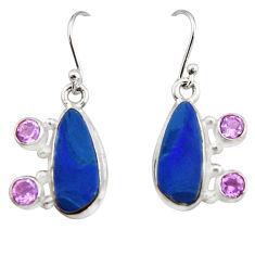 9.04cts natural blue doublet opal australian 925 silver dangle earrings r19731