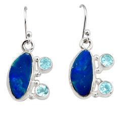 8.83cts natural blue doublet opal australian 925 silver dangle earrings r19732