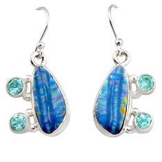 9.70cts natural blue doublet opal australian 925 silver dangle earrings r19735