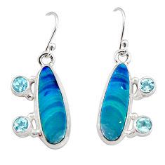 10.54cts natural blue doublet opal australian 925 silver dangle earrings r19737