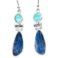 7.88cts natural blue doublet opal australian 925 silver dangle earrings r49962