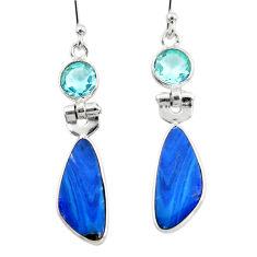 9.05cts natural blue doublet opal australian 925 silver dangle earrings r49963