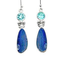 8.48cts natural blue doublet opal australian 925 silver dangle earrings r49965