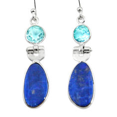 8.48cts natural blue doublet opal australian 925 silver dangle earrings r49974