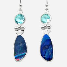 7.88cts natural blue doublet opal australian 925 silver dangle earrings r49977