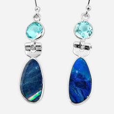 7.88cts natural blue doublet opal australian 925 silver dangle earrings r49978