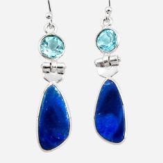 7.88cts natural blue doublet opal australian 925 silver dangle earrings r49980