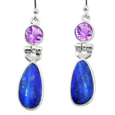 7.51cts natural blue doublet opal australian 925 silver dangle earrings r49981