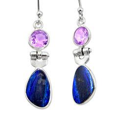 7.51cts natural blue doublet opal australian 925 silver dangle earrings r49986