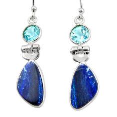 8.48cts natural blue doublet opal australian 925 silver dangle earrings r49988