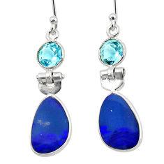 7.88cts natural blue doublet opal australian 925 silver dangle earrings r49989