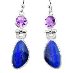 7.88cts natural blue doublet opal australian 925 silver dangle earrings r49992