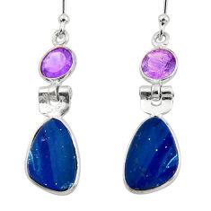 7.51cts natural blue doublet opal australian 925 silver dangle earrings r49997