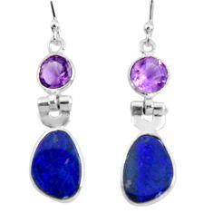 6.94cts natural blue doublet opal australian 925 silver dangle earrings r50907