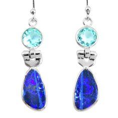 6.94cts natural blue doublet opal australian 925 silver dangle earrings r50909
