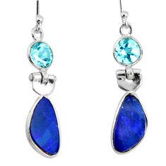6.94cts natural blue doublet opal australian 925 silver dangle earrings r50911