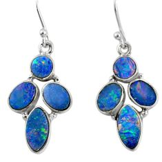 12.06cts natural blue doublet opal australian 925 silver dangle earrings r60784