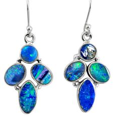 12.03cts natural blue doublet opal australian 925 silver dangle earrings r60787