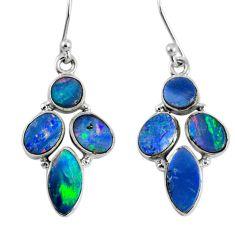 11.59cts natural blue doublet opal australian 925 silver dangle earrings r60793
