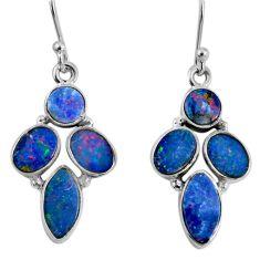12.03cts natural blue doublet opal australian 925 silver dangle earrings r60796