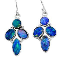 12.03cts natural blue doublet opal australian 925 silver dangle earrings r60799