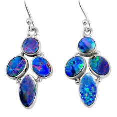 12.08cts natural blue doublet opal australian 925 silver dangle earrings r60800