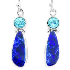 9.25cts natural blue doublet opal australian 925 silver dangle earrings r72682