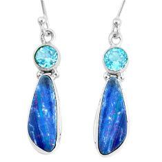 7.64cts natural blue doublet opal australian 925 silver dangle earrings r72703