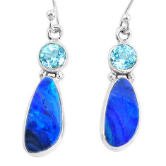 8.04cts natural blue doublet opal australian 925 silver dangle earrings r72719