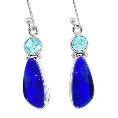 8.09cts natural blue doublet opal australian 925 silver dangle earrings r76541