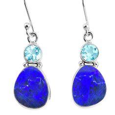 8.11cts natural blue doublet opal australian 925 silver dangle earrings r76542