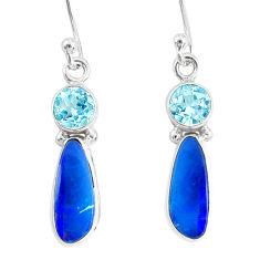 7.26cts natural blue doublet opal australian 925 silver dangle earrings r76543