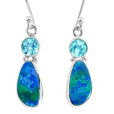 6.57cts natural blue doublet opal australian 925 silver dangle earrings r76546