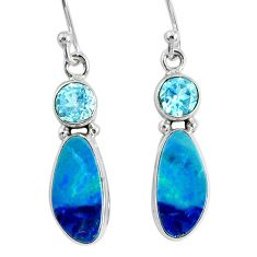 7.66cts natural blue doublet opal australian 925 silver dangle earrings r76551
