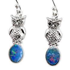 3.42cts natural blue doublet opal australian 925 silver owl earrings r48174