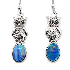 2.92cts natural blue doublet opal australian 925 silver owl earrings r48176
